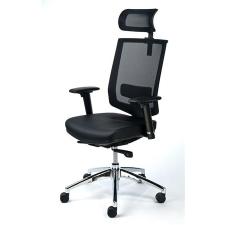 """MAYAH Exkluzív fejtámaszos irodai szék, fekete bőrborítás, feszített hálós háttámla, fekete lábkereszt, MAYAH """"Maxy"""" forgószék"""
