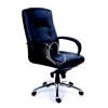 """MAYAH Főnöki szék, hintamechanikával, fekete bőrborítás, króm lábkereszt, MAYAH """"Enterprise"""""""