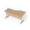 MAYAH Íróasztal, íves, balos, szürke fémlábbal, 160x80 cm, MAYAH Freedom SV-30, kõris