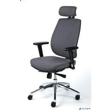 """MAYAH Irodai szék, állítható karfával, szürke szövetborítás, alumínium lábkereszt, MAYAH """"Grace"""" forgószék"""