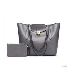 Miss Lulu London E1857-MISS LULU OIL WAX kézi táska Top táskafül válltáska táska val pénztárca szürke