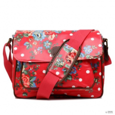 Miss Lulu London G1108F - Miss Lulu Oilcloth Medium táska Flower Polka Dot Plum