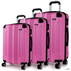 Miss Lulu London K1777 PK - 20-24-28? Kono ABS Hard kagyló Suitház 3 darab bőrönd utazótáska szett rózsaszín