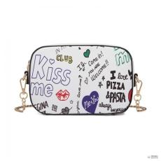 Miss Lulu London LD1838-MISS LULUbőr GRAFFITI Lánc válltáska táska fehér
