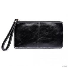 Miss Lulu London LP6881 -MISS LULU nőiLEATHE cipzáras hosszú pénztárca fekete
