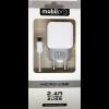 Mobilpro Töltőszett 2in1 2USB 2.4A + microUSB adatkábel fehér