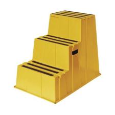 Műanyag munkahelyi lépcsők Manutan, sárga, 3 fok testvérfellépő