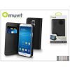 Muvit Samsung SM-G800 Galaxy S5 Mini flipes tok kártyatartóval - Muvit Slim and Stand - black