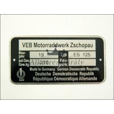 MZ/ES TÍPUSTÁBLA /ES125/ MZ/ES - 125 egyéb motorkerékpár alkatrész