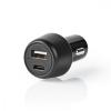 Nedis Autós USB-A / USB-C Töltő | 3.0 A | Power Delivery 18 W | Fekete
