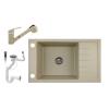Nero Gránit mosogató NERO Grande + kihúzható Shower csaptelep+ dugóemelő + szifon - bézs