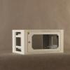 Netrack fali szekrény, 19', 6U/400 mm - szürke, üveg ajtó, levehető old.