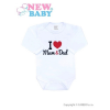 NEW BABY Body nyomott mintával New Baby I Love Mum and Dad | Piros | 56 (0-3 h)