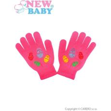 NEW BABY Gyermek téli kesztyű New Baby Girl sötét rózsaszín