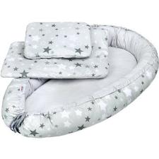 NEW BABY Luxus babafészek takaróval és párnával - fehér-szürke csillagok babafészek