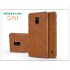 Nillkin Samsung A730F Galaxy A8 Plus (2018) oldalra nyíló flipes tok - Nillkin Qin - barna