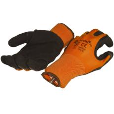 NMSafety Hab-latex tenyérmártott nylon szőtt kesztyű (EN 2131), narancssárga-fekete, XXL-es