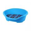 Nobleza kék műanyag kosár, kockás párnával, H47.5*Sz34*M18cm