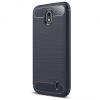 Nokia 1, TPU szilikon tok, közepesen ütésálló, szálcsiszolt, karbon minta, sötétkék