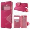 Notesz / flip tok - oldalra nyíló, hívószámkijelzõ kivágás, rejtett mágneses, álló, asztali tartó funkció, bankkártya tartó, szilikon belsõ - MAGENTA / RÓZSASZÍN - SONY XPERIA C5 Ultra / C5 Ultra DUAL (E5553 / E5506 / E5533 / E5563)