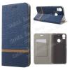 Notesz tok / flip tok - SÖTÉTKÉK - asztali tartó funkciós, oldalra nyíló, bankkártya tartó zsebekkel, szilikon belsõ - HTC Desire 10 Pro