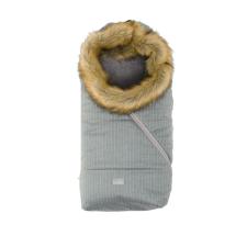 Nuvita Ovetto Pop bundazsák szőrmével 80cm - Pinstripe Gray / Beige - 9236 babakabát, overál, bundazsák