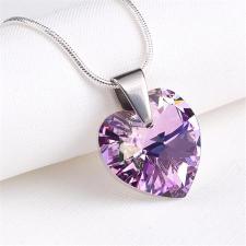 . Nyaklánc, Crystals from SWAROVSKI® kristályos szív alakú medállal, színjátszós ametiszt lila nyaklánc