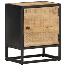 Nyers mangófa éjjeliszekrény faragott ajtóval 40 x 30 x 50 cm bútor