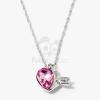 Nyíllal átlőtt szív medálos nyaklánc pink kővel jwr-1315