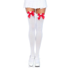 Nylon Over The Knee With Bow - WHITE/RED - O/S - HOSIERY