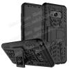 OTT! VROOM mûanyag védõ tok / hátlap - FEKETE - AUTÓGUMI MINTÁS - szilikon betétes, asztali tartó funkciós, ERÕS VÉDELEM! - SAMSUNG SM-G950 Galaxy S8