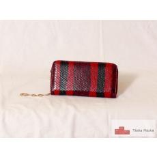 P091 kígyóbőr mintázatú női pénztárca piros színben