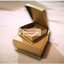 Papírdoboz készlet, 2db négyzetes, ékszeres, natúr papírmasé dobozok dekorációs kellék