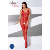 Passion BS069 - exkluzív, mintás, nyitott necc overall (piros) - S-L