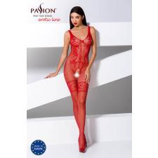 Passion BS069 - exkluzív, mintás, nyitott necc overall (piros) - S-L body
