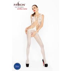 Passion Passion BS030 - lótuszvirág mintás, aprószemű, nyitott necc overall (fehér) - S-L