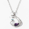 Páva medálos nyaklánc lila kővel jwr-1327