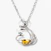 Páva medálos nyaklánc sárga kővel jwr-1330