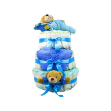 Pelenkatorta Webshop Babaváró ajándék ötlet: Kék három emeletes pelenkatorta macikkal pelenka