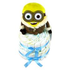 Pelenkatorta Webshop Babaváró ajándék ötlet: Minion IceVillage Bob pelenkatorta kék pelenka