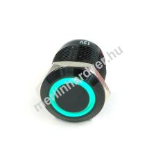 Phobya Vandalism Proof nyomógomb 19mm - fekete alumínium, zöld gyűrű, 6pin modding