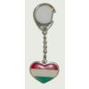 Piros- fehér- zöld szív alakú kulcstartó