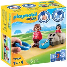 Playmobil 1.2.3 sétáltatható kutya és figura 70406 playmobil