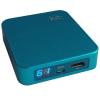 Power Bank, Kit, 6000mAh, micro USB, mini USB, Apple iPhone 4, digitális led töltöttség jelző, türkiz, bliszteres