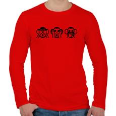 PRINTFASHION 3 bölcs majom hangulatjel - Férfi hosszú ujjú póló - Piros