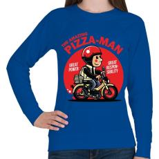 PRINTFASHION A csodálatos pizzafutár - Női pulóver - Királykék