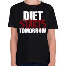 PRINTFASHION A diéta holnaptól kezdődik - Gyerek póló - Fekete