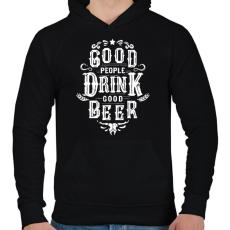 PRINTFASHION A jó emberek jó sört isznak - Férfi kapucnis pulóver - Fekete