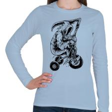 PRINTFASHION A kaszás biciklije - Női hosszú ujjú póló - Világoskék női póló