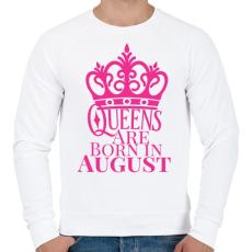 PRINTFASHION A királynők augusztusban születnek - Férfi pulóver - Fehér